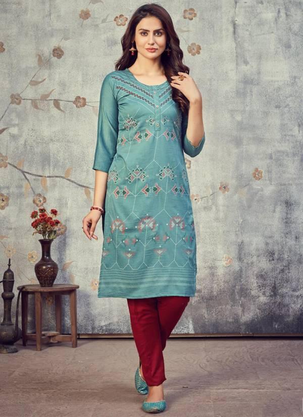 Rangjyot Ankhi Maska Silk Hand Work Daily Wear Kurtis Collection