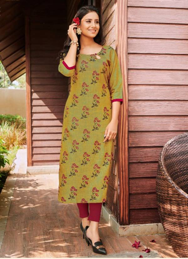Baanvi Sweety Vol 3 Series 301SWEETY-308SWEETY Rayon Two Tone With Foil Printed Straight Cut Daily Wear Kurtis Collection