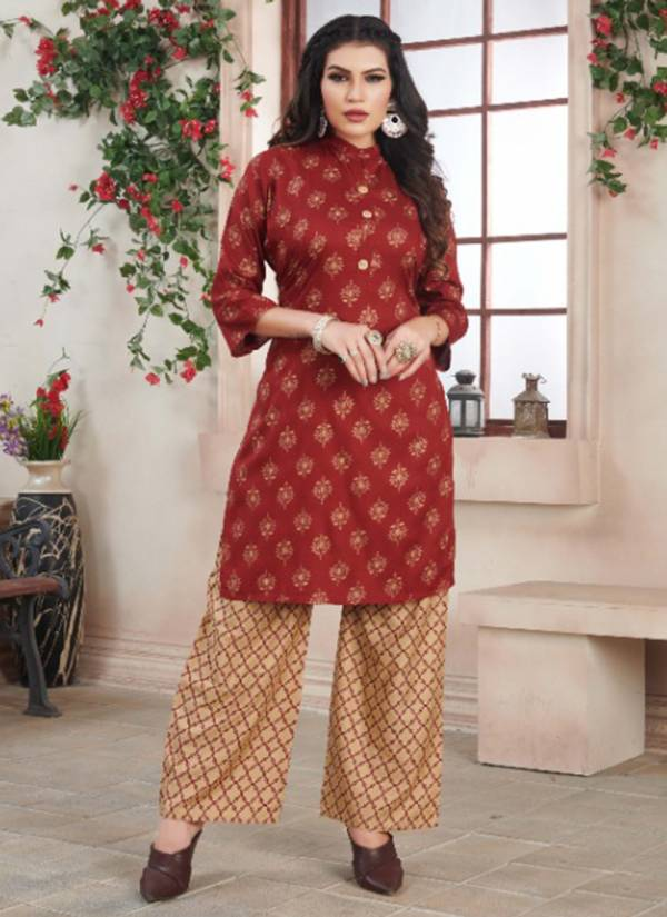 Rung Bliss Vol 3 Heavy Rayon With Fancy Gold Printed Kurtis With Palazzo Collection