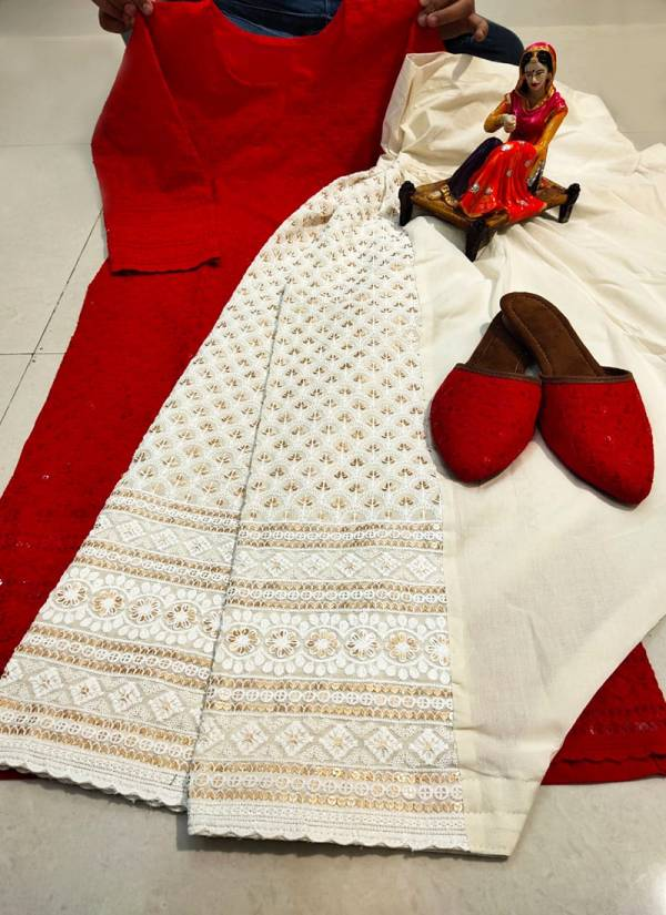 Vikash Eshan Pure Cotton With Chikan Embroidery Work Punjabi Style Kurtis With Palazzo Collection (38-48 Sizes) 10-17