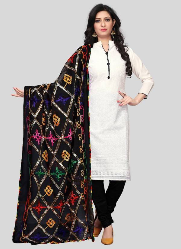 Zenny Creation Cotton Chikan Styles Wear Dress Material Collection