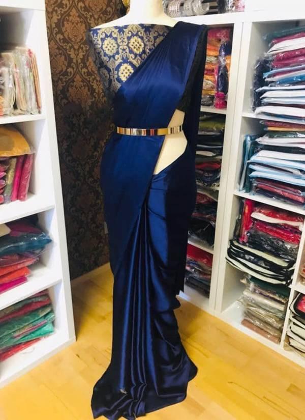 Shree Saree Palace Series 1-18 Solid Satin Silk Designer Party Wear Sarees With Banarasi Blouse Collection