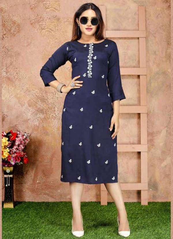 Suvesh Infinity Rayon Two Tone With Stylish Work Kurtis Collection