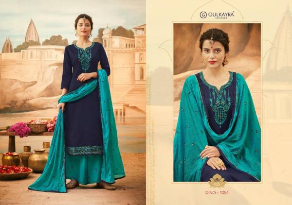 Gulkayra Designer Lotus Jam Silk With Heavy Work Palazzo Suits Collection
