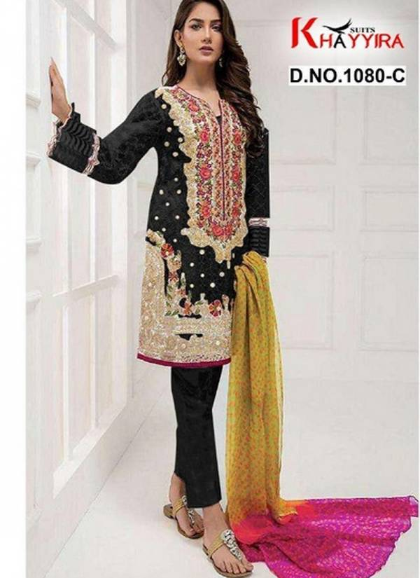 Khayyira Suits Series 1080A-1080C Tissue Heavy Embroidery Stone Work New Designer Pakistani Suits Collection