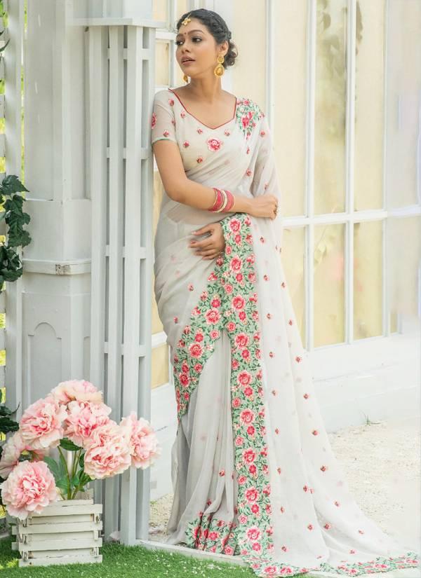 Nari Fashion Kaira Modellu Georgette Silk Embroidery Work Party Wear Sarees Collection