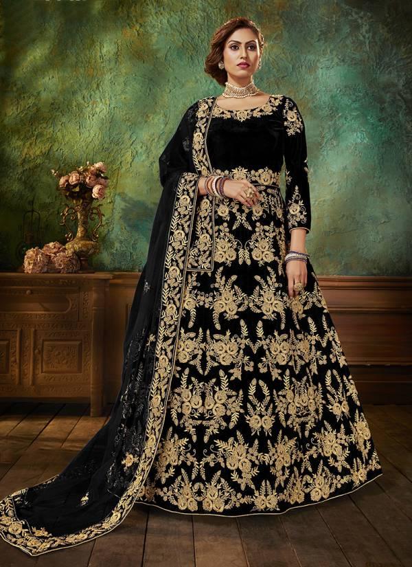 Senhora Dresses Mumtaz Senhora Vol 21 Falcan Velvet With Heavy Stone Work Anarkali Suits Collection