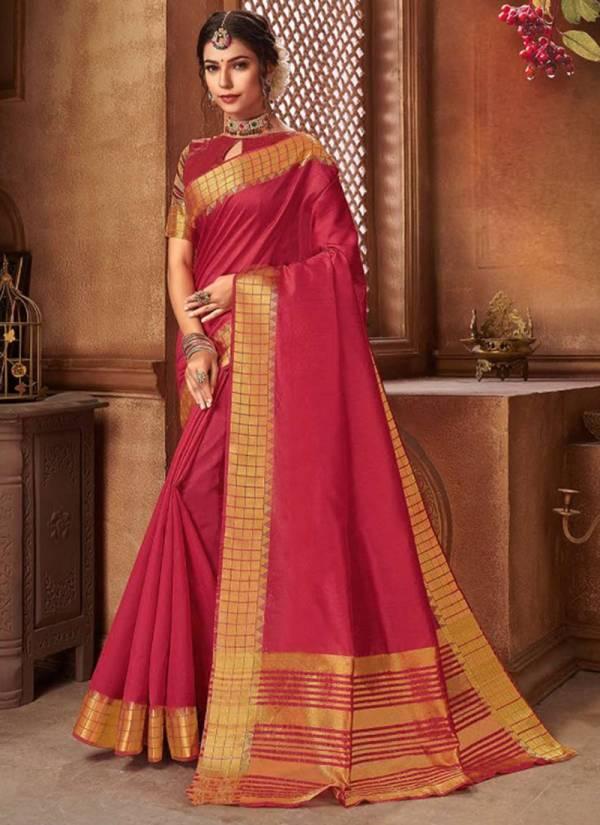 Saroj Madhuvan Series 1001MADHUVAN-1006MADHUVAN Cotton Silk With Chit Pallu & Jacquard Border Festival Wear Sarees Collection