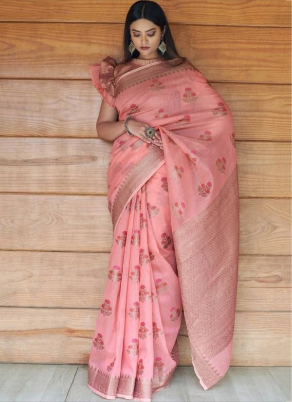 Ladys Ethnic Linen Cotton Fancy Embroidery Work Wedding Wear Designer Sarees Collection