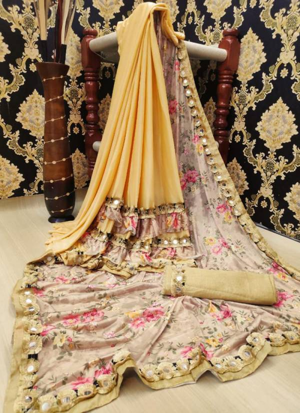 Ruhi Fashion Rukmani Series 1-5 Heavy Lycra Silk Blend Digital Flower Print Regular Wear Sarees Collection