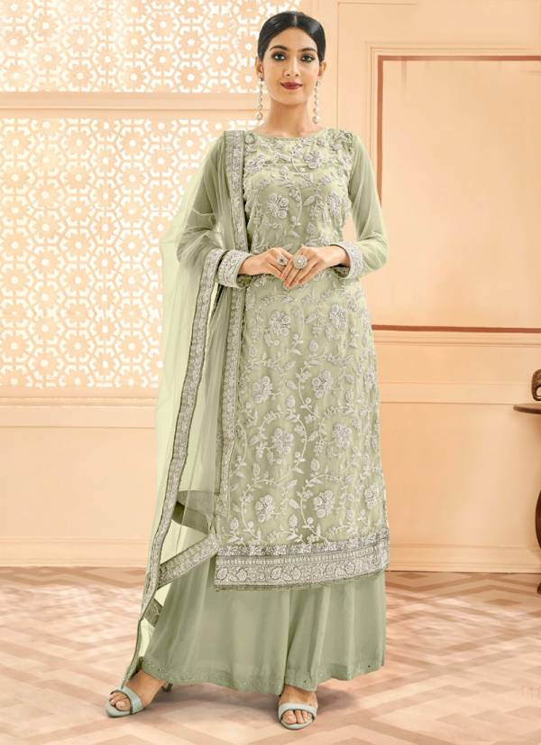 Eba Lifestyle Red Rose Series 1181-1184 Heavy Butterfly Net With Heavy Silver Coding Work New Designer Work Palazzo Suits Collection