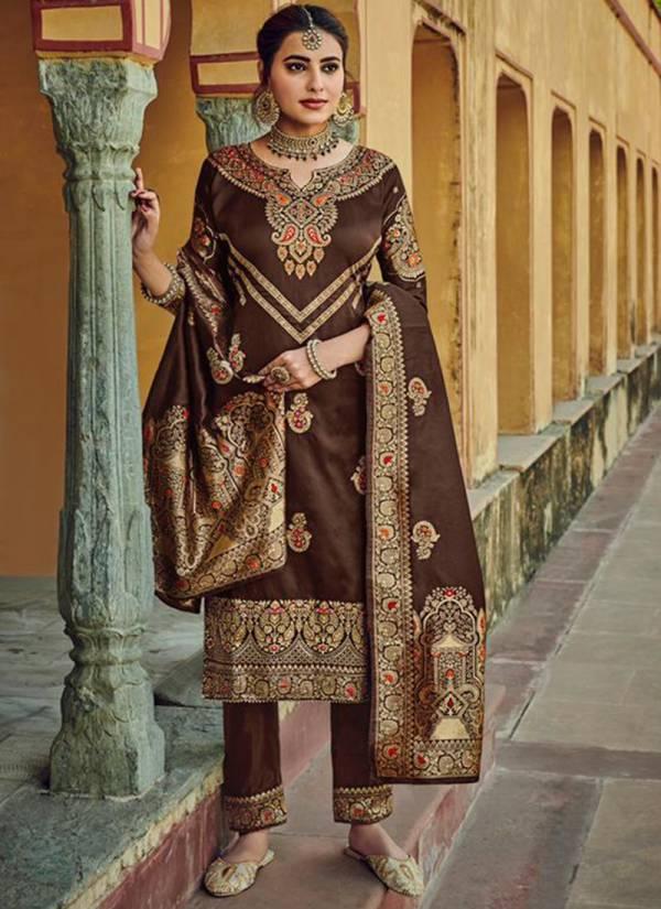 Amyra Designer Shehzadi Series 5001-5005 Silk Jacquard Dull Inner Santoon With Fancy Diamond Party Wear Designer Salwar Suit Collections