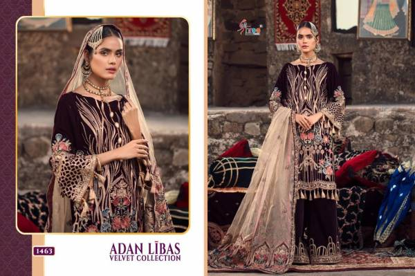Shree Fab Adan Libas Velvet Series 1461-1466 Pure Velvet With Heavy Embroidery Work Pakistani Festival Wear Suits Collection