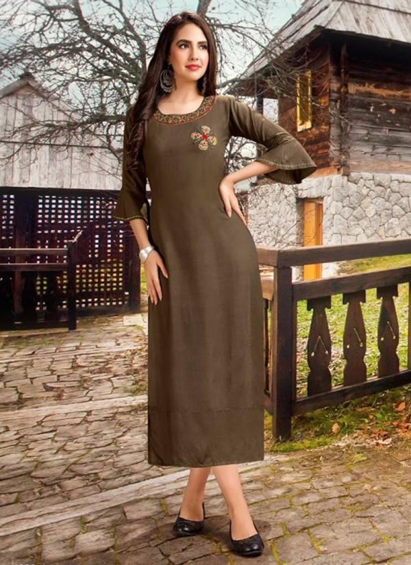 Shubh NX Aaradhya Vol 1 Series SA1001-SA1008 Rayon With Trendy Hand Work Straight Cut Office Wear New Fancy Kurtis Collection