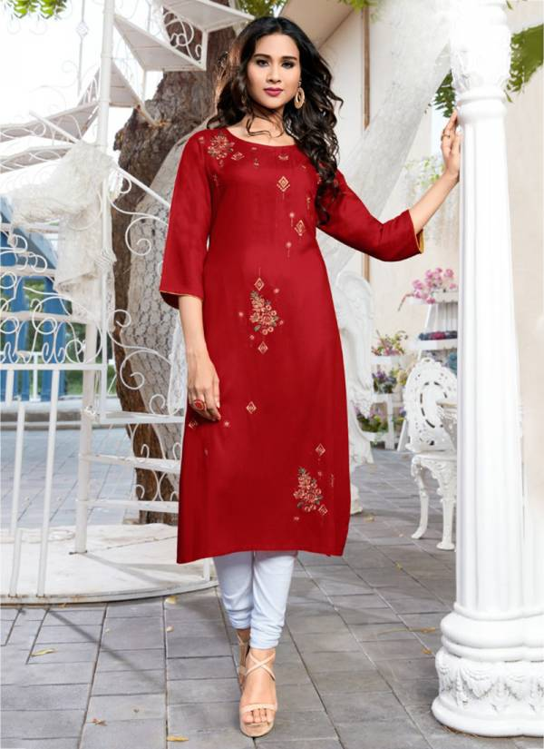 Syasii Panchi Series 119-124 Heavy Rayon Straight Cut With Embroidery Work Kurtis Collection
