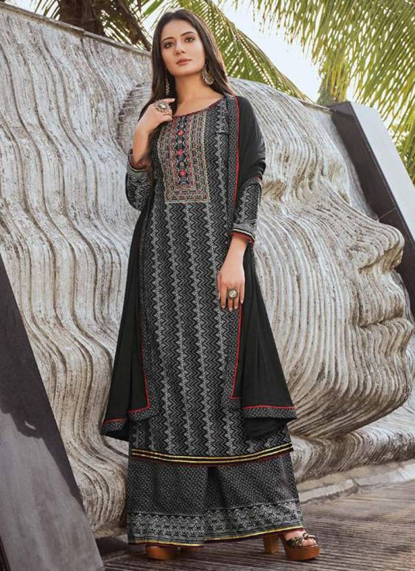 Rangoon Roopkala Series 2611-2614 Rayon Slub With Digital Print & Khatli Hand Work New Designer Readymade Palazzo Suits Collection