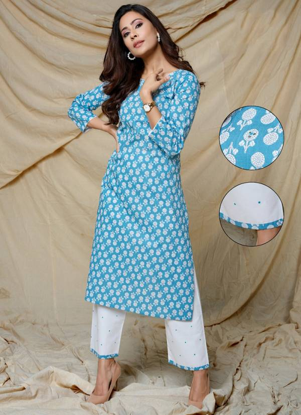 Indira Apparel Floral 2 Series 3901F-3904F Pure Cotton With Embroidery Fancy Work Kurti WIth Narrow Palazzo Casual Wear Collection