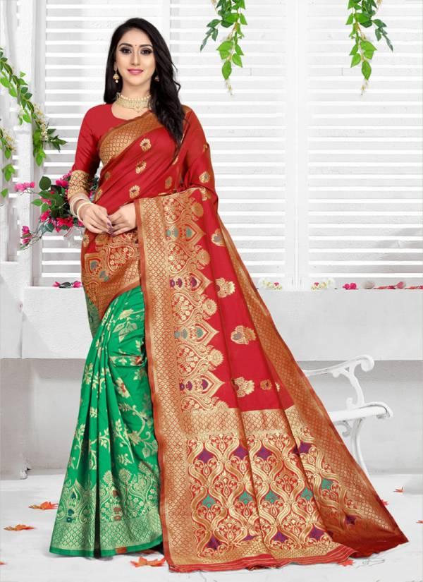 Kodas Grah Laxmi 8152 Series A-D Handloom Jacquard Fancy Traditional Sarees Collection