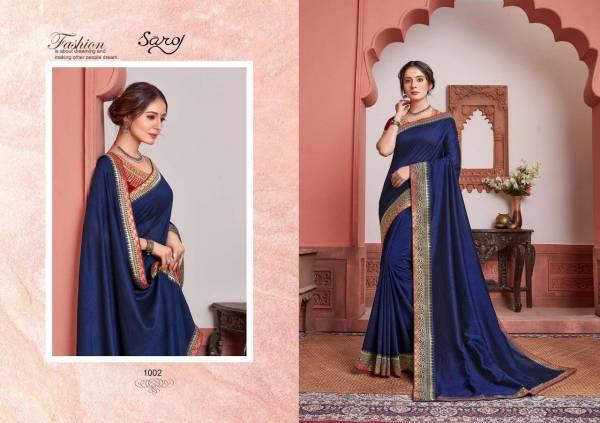 Saroj Binita Series 1001-1008 Vichitra Silk With Beautiful Border Work Party Wear Sarees Collection