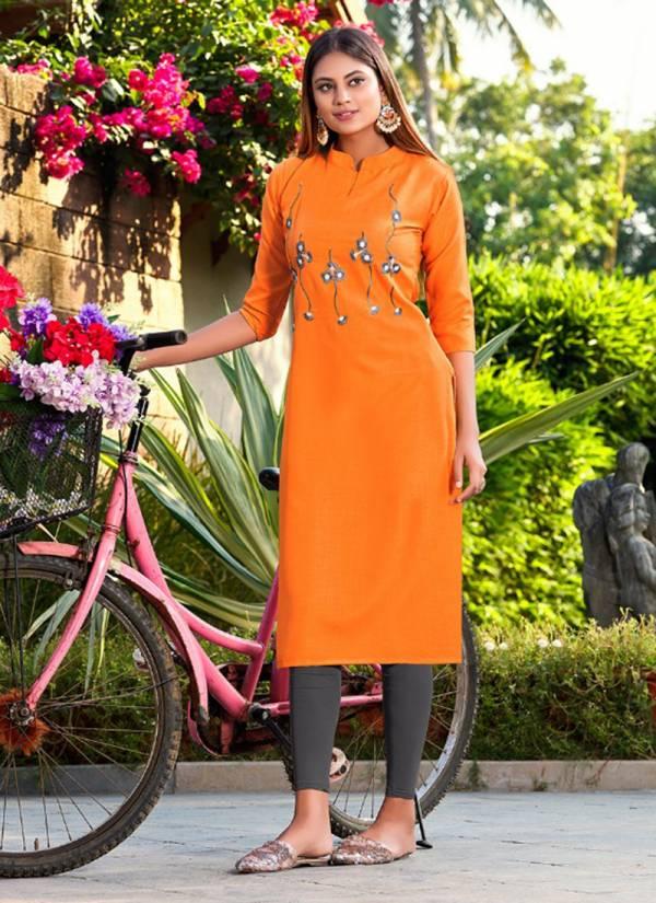 Jinesh NX Akira Vol 2 Series 1001AKIRA-1010AKIRA Ruby Slub With Embroidery Work New Fancy Straight Cut Office Wear Kurtis Collection