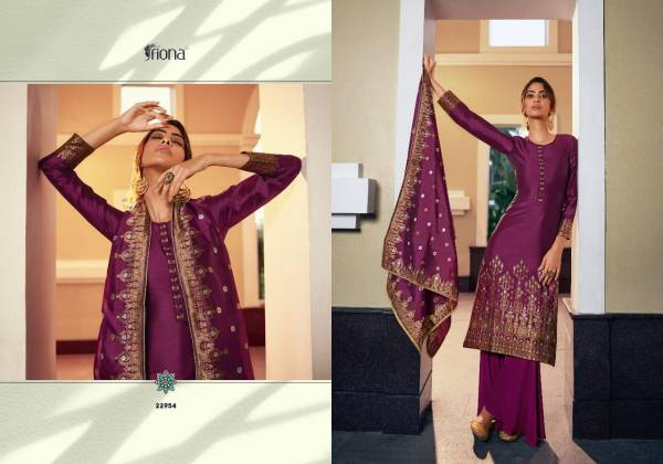 Fiona Gulzar Series 22951-22956 Jacquard With Hand Work Latest Designer Festival Wear Palazzo Suits Collection