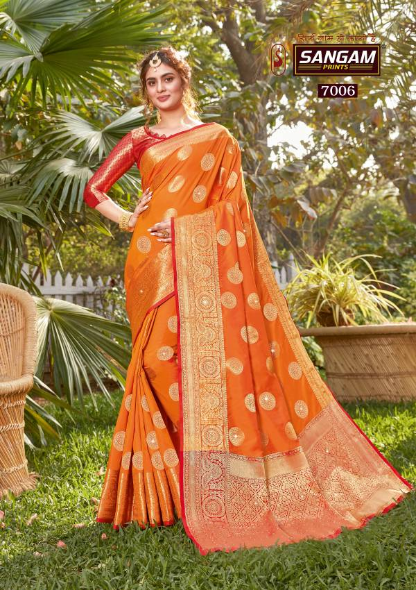 Sangam Prints Tarz Silk Weaving Work Wedding Wear Designer Saree Collections 7001-7006