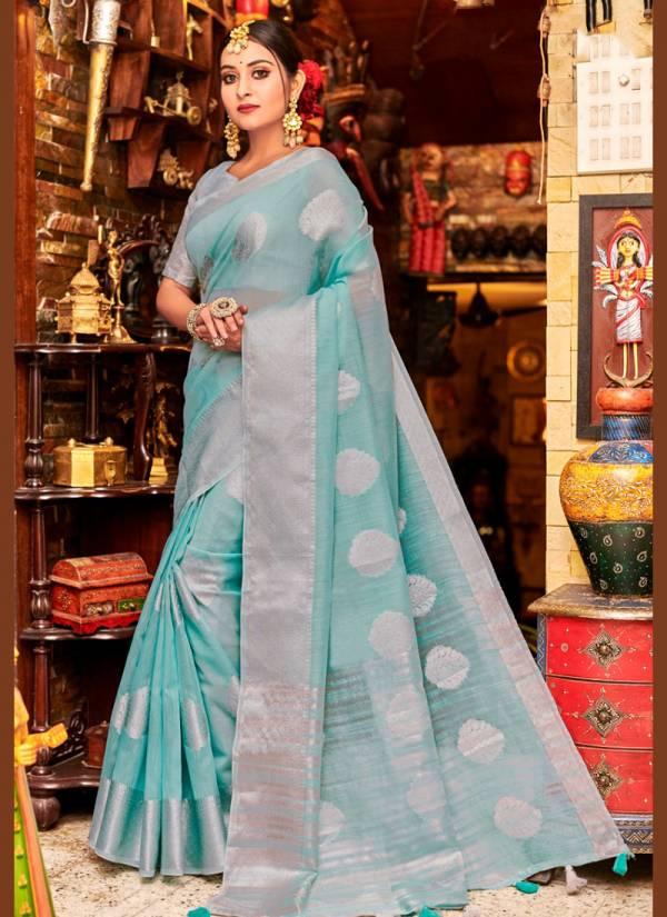 Sangam Blueberry Series 2001-2006 Linen Heavy Work Festival Wear Sarees Collection