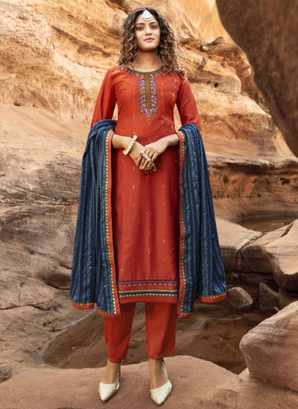 FourDots Baani Series 91-94 Parampara Silk With Embroidery & Designer Sequins Work Casual Wear Latest Straight Suits Collection