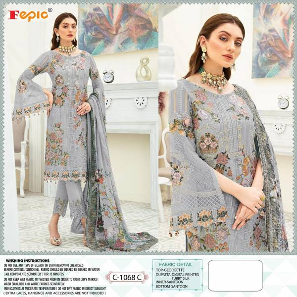 Fepic Rosemeen Dynamic Series C-1068 - C-1068D Georgette Embroidery With  Hand Embroidery Work New Designer Net Pakistani Suits Collection