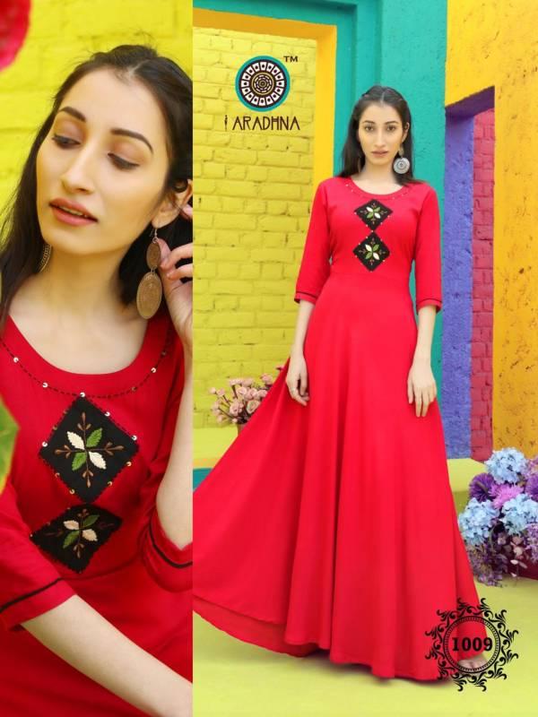 Aradhna Fashion Fabulous Vol 1 Series 1001-1009 Heavy Rayon Embroidery Work New Designer long Kurti Collection