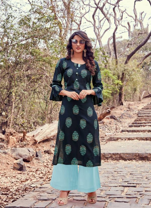 Parra Studio Himanshi Series 1001-1008 Latest Pure Rayon Print Trendy Look Fancy Office Wear Kurti With Palazzo Collection
