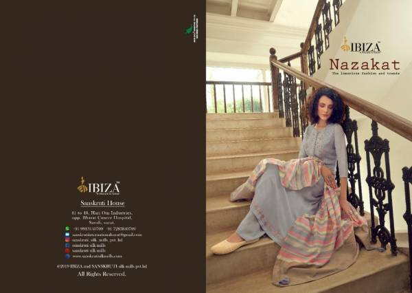 Ibiza Nazakat Series 5030-5036 Pure Muslin With Sequence Fancy Embroidery Work exclusive Designer Palazzo Suits Collection