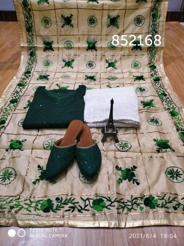 VE Phulkari Cotton Chikankari Sequence Work Punjabi Salwar Suits With Sequins Matching Jutti Collection (38-48 Sizes)