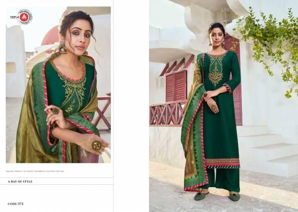 Triple AAA Khwahish Vol 2 Series 371-376 Chinon Silk With Khatli Work New Designer Straight Salwar Suits Collection