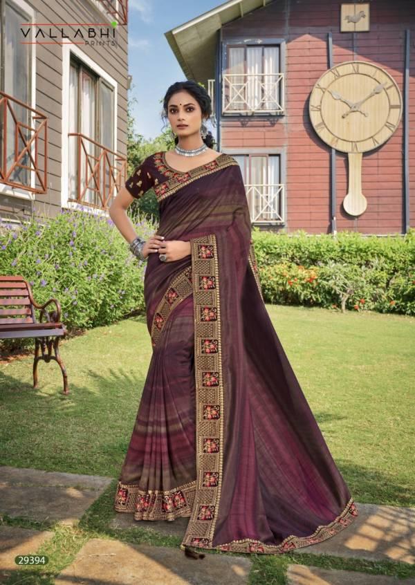 Vallabhi Ganiska Vichitra Silk Embroidered Work Reception Wear Designer Sarees Collection