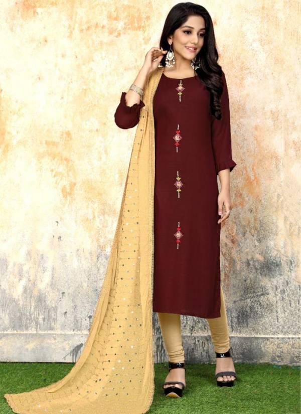 Luxuria Sathiya Series 1001LS-1004LS Premium Rayon Slub Handwork Kurti With Fancy Dupatta Collection