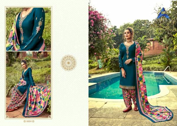 Alisa Aanya Digital Print Georgette Heavy Embroidery Work Patiyala Suits Collection