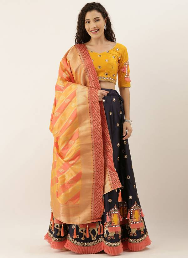 Kesari Exports Series 5268-5288 Lemon Satin Silk & Net Coading Stone With Designer Embroidery Mirror Work Festival Wear Lehenga Choli Collection