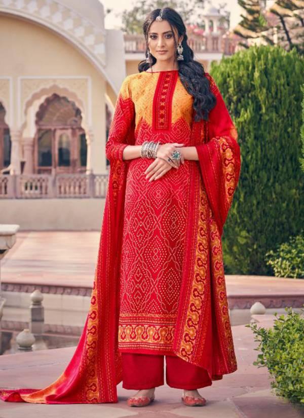 Tanishk Fashion Mehroz Bandhej Series 15601-15608 Pure Bond Pashmina Digital Printed Winter Special Palazzo Suits Wholesale Rate Collection