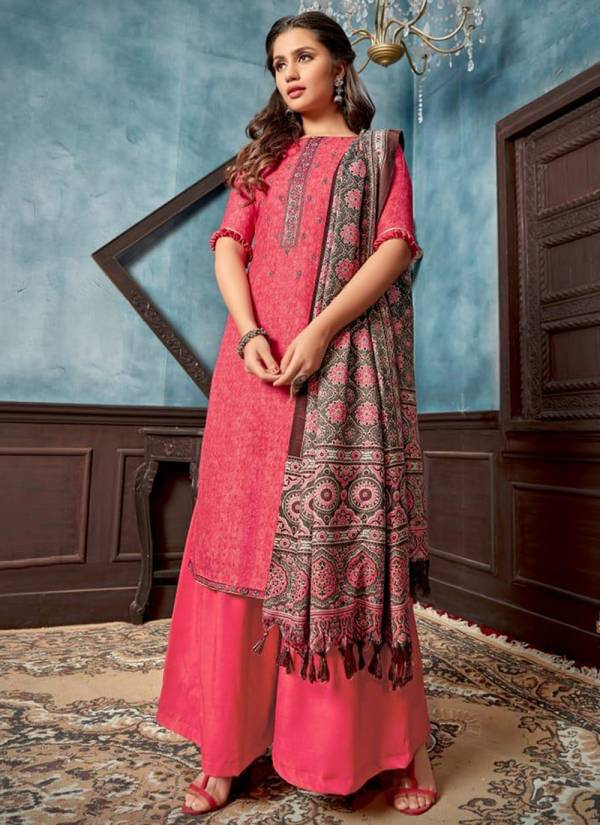 Bipson Ruhani Series 1203-1210 Woollen Pashmina Print With Embroidery Work New Designer Winter Season Palazzo Suits Collection