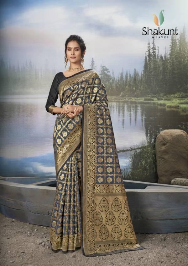 Shakunt Pushp Priya Silk Jacquard Work With Rich Pallu Wedding Wear Designer Sarees Collection