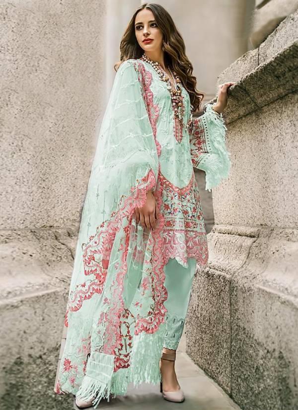 Shree Fabs Faux Georgette Net Zari Less Handwork Embroidery Mirror Designer Pakistani Salwar Suit Collections