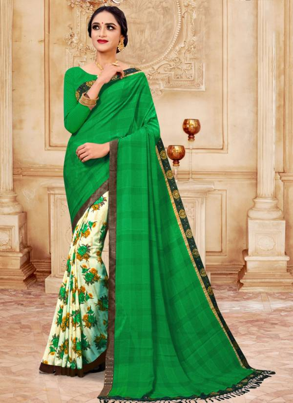 Kodas Jodha Series 6649-6660 Rennial Flower Printed With Fancy Border Daily Wear Sarees Collection