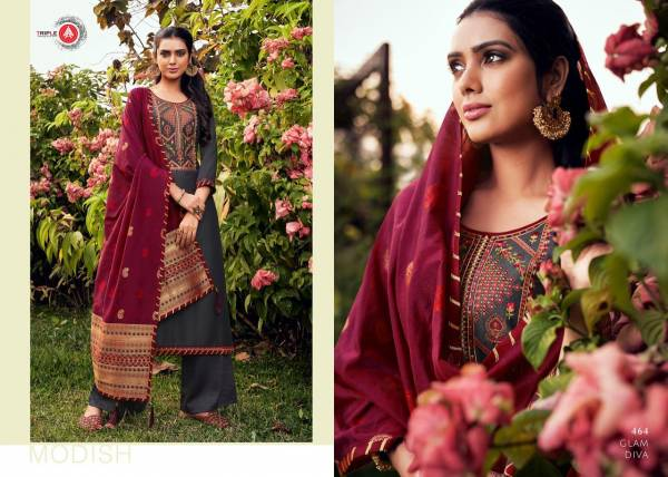 Triple AAA Kashmiri Series 461-466 Parampara Silk With Sequence Embroidery Work New Designer Palazzo Suits Collection