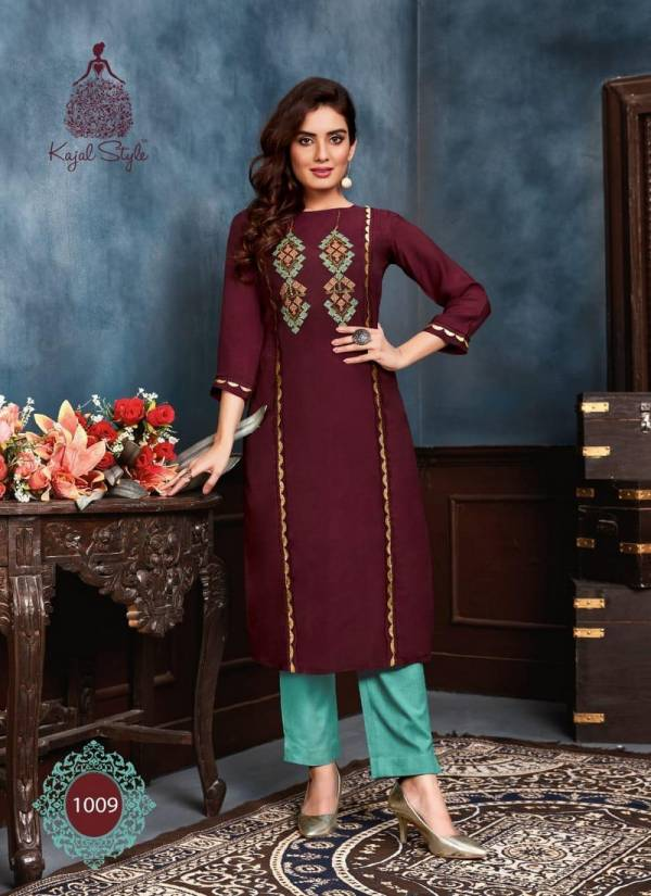 Kajal Style Fashion Saga Vol 1 Series 1001SAGA-1012SAGA Pure Muslin With Khatli Work New Designer Kurtis With Fancy Bottoms Collection