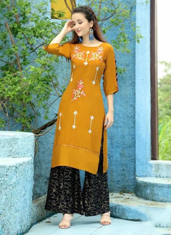 Aradhna Fashion Girl Vol 3 Series 3001-3012 Heavy Rayon With Stylish Embroidery Work & Manual Work Kurti Palazzo Collection