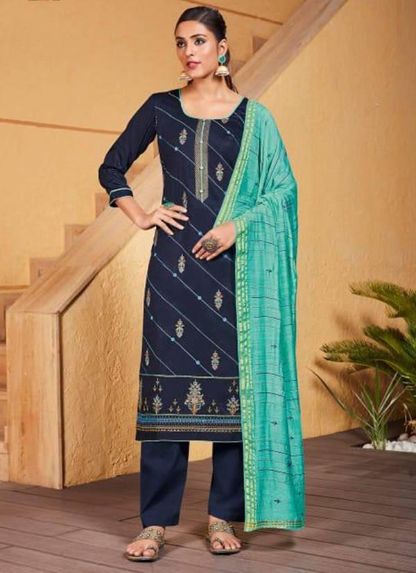 Kalarang Pahel Series 1821-1824 Jam Silk With Fancy Embroidery Work Salwar Suits Collection