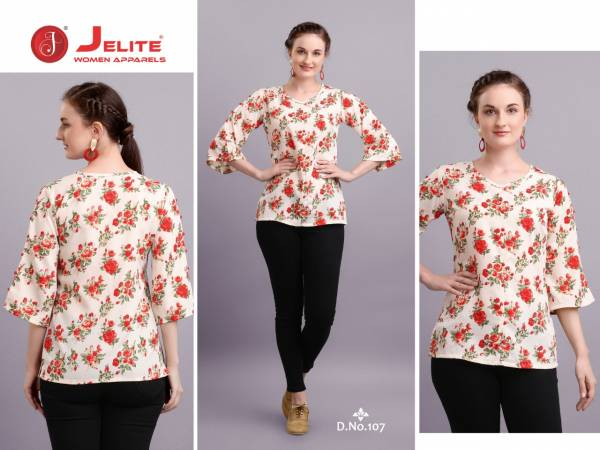 Jelite Tulip Series 101-108 Polyester Crepe With New Fancy Printed Regular Wear Fancy Tops Collection