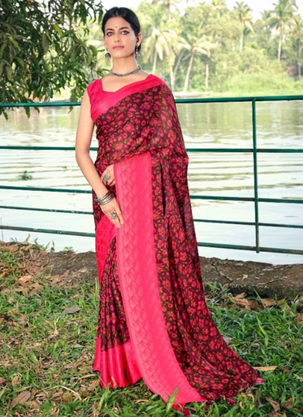 5D Designer Karishma Carpe Georgette With Fancy Digital Printed Work Wedding Wear Designer Sarees Collection