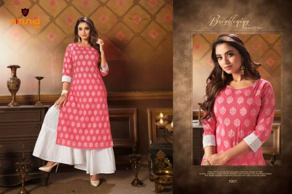 Nitisha NX Charkol Pure Cotton Fancy Digital Printed Work Reguler Wear Designer Kurti And Palazzo Collection